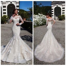 Wholesale top modest wedding dress - Modest Scoop Neck Middle East Mermaid Wedding Dresses 2018 Slim Long Train Vintage Bridal Gowns Vestidos de novia Garden Top Sale