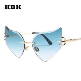 5879b02f9729 HBK Rimless Cat Eye Sunglasses Irregular Butterfly Angel Wings Shades  Gradient Sun Glasses Women Brand Designer 2018 New Trendy