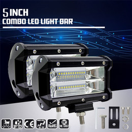 Wholesale Led Light Car Modified - 5 Inch 72W 10800LM led work light Waterproof Durable Modified Auto Car Top bar Light lamps 12v cree chip Bars Off-road Pickup Wagon