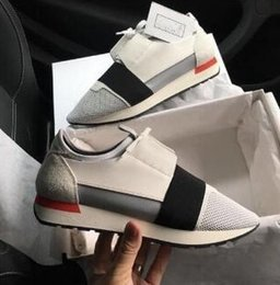 Wholesale Blue Races Dress - 2017Balenciag Luxury Arena Sneaker Shoes Runner Red Mesh Balck Leather Kanye West Race Runners Men's Walking Casual Trainers Party Dress