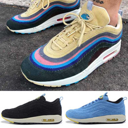 Wholesale Core Air - new air 97 Breathe cashmere core cloth Running Shoes fashion designer Men Women Stitching color black air 1 trainers sneakers Sports Shoes