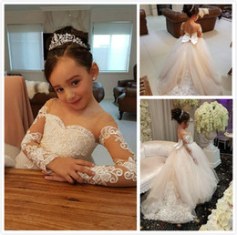 Wholesale cheap toddler ball gowns - Ivory Flower Girls Dresses For Weddings Lace Appliques Beads Long Sleeves Girl Wedding Dress Sashes Cheap Toddler Pgeant Gowns