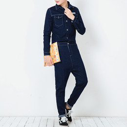 Wholesale Fashion Jumpsuit Harem - Men A Piece Jean Jumpsuit Spring Autumn Slim Fit Long Sleeve Denim Overalls Pant Male Fashion Casual Harem Trousers
