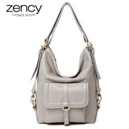 simples bolsos de cuero hobo Rebajas Zency marca venta caliente de moda para mujer Hobos Classic bolso de las mujeres 100% cuero genuino de gran capacidad bolsa de hombro casual simple