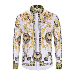 Wholesale Sleeve Leopard Dress - 2018 19 fashion Wave Of Men Apparel 3D Floral Print Colour Mixture Luxury Casual Harajuku Shirts long sleeve Men's Medusa Shirts M--3XL