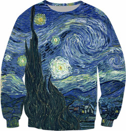 necked painting Coupons - Starry Night Sweatshirt Van Gogh Oil Painting Hoodies Casual Spring Outfits Fashion Clothing Pullover Tumblr Jumper Tops S-5XL