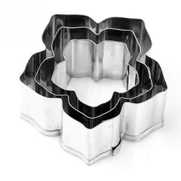 Wholesale Metal Cookie Cutters Set - 3Pcs Set Flower Cookies Cutter Pastry Biscuit Cake Decorating Mould Tools