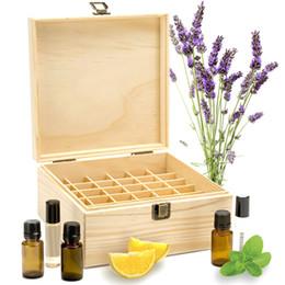 Wholesale Oil Shoe - 25 Slots Wooden Essential Oils Box Solid Wood Case Holder Aromatherapy Bottles Storage Organizer 18.6*18.6*18.5cm Pine Wood