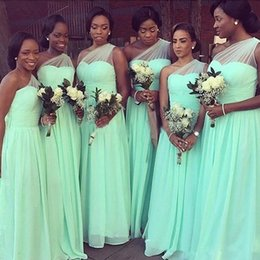 Wholesale Mint Chiffon Shirt - Mint Green Chiffon Bohemian Bridesmaid Dress Cheap One Shoulder Ruched Junior Wedding Party Gown Africa Evening Prom Formal Wear Plus Size