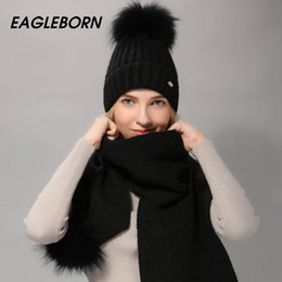 5e1488ff3a74bb EAGLEBORN Women Winter Hat And Scarf Set Warm Cashmere Knitted Hat Scarf  For Girls High Quality Fur Pompoms Hats Lady Beanies