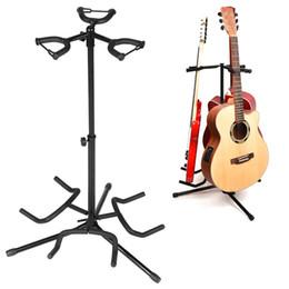 Suporte acústico on-line-3 Titular Ferro Dobrável Acústico Elétrico Baixo Guitarra Guitarra Stand Holder Bracket Mount para Instrumentos Musicais Parte Accessoris