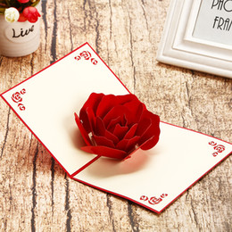 Tarjetas de amante online-Rose 3D Pop Up tarjeta de felicitación Carve Valentine's Day Gift Lovers Tanabata Festival pareja romántica Birthday Wedding invitation tarjetas 5 8hp bb