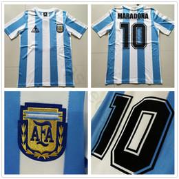 2019 camiseta copa del mundo argentina 1988 World Cup Classic Argentina Vintage Soccer Jersey 10 MARADONA CANIGGIA BATISTA DIEGO Custom Inicio Camisa de futebol Football Shirt camiseta copa del mundo argentina baratos