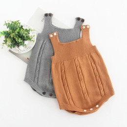 fc0291b8315d New Autumn Infant Baby Knitted Rompers Boys Girls Knitwear Sweater  Suspender Rompers Children Toddlers Climb Clothes Jumpers 14268
