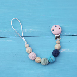 Wholesale Wooden Shaped Beads - 2017 New Cute Wooden&crochet Beads Baby Pacifier Clip Holder with Beech Shaped Pendant Dummy Holder Crochet Beads Christma Gift