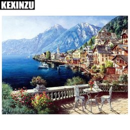 Wholesale Mountain Paintings - 2018 New Diamond Embroidery Diamond Painting Landscape Boat Sea Mountain Diamond Painting Cross Stitch Rhinestone Mosaic