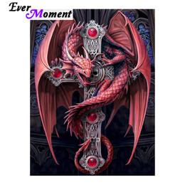 2019 decorazioni di drago rosso all'ingrosso Full Large 3D Picture Guardiano Gotico Diamante Pittura Fantasy Red Dragon Decorazione Della Casa FAI DA TE ASF1000 decorazioni di drago rosso economici