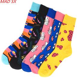 habillement décontracté pour les hommes Promotion 5 paires / lot mode coton coloré nouveauté cool chaussettes pour hommes de mode conception de style drôle chaussettes d'équipage robe décontractée