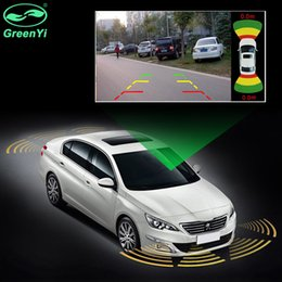 Sensori del parco anteriore online-GreenYi Dual Channel Car Video Parking Radar Sensor Front Rear 8 Sensors 2 Video Input For Front Rear Camera Monitor DVD Player