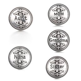 18mm metal snap buttons Promo Codes - NOOSA Family Ginger Snap Chunks Crown NANA Grandma MOM Aunt Sister 18MM Metal Snap Buttons DIY Snap Bracelet Jewelry Gift