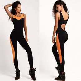 Wholesale Womens Orange Jumpsuit - 2018 Women Sport suit Mesh Bodysuit Women Yoga Long Pants Sexy Jumpsuit Womens Romper Backless One Piece Running Set Tracksuit
