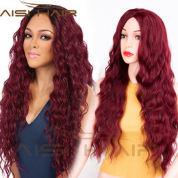 Wholesale long red curly hair wigs - AISI HAIR Long Wavy Wine Red Hair for Woman Long Curly Middle Part Wigs with No Bangs for Female Synthetic Fiber Wig