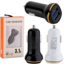3.1a chargeur de voiture de détail en Ligne-Chargeur de voiture 3.1A Adaptateur de voiture Auto Chargeurs de voiture Chargeur adaptateur pour ipad iphone 7 8 Samsung s7 s8 android téléphone Avec la boîte au détail