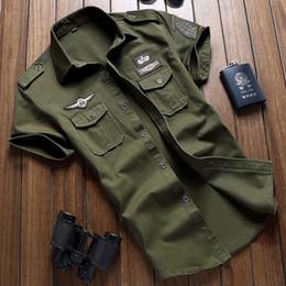 camicie uomo Sconti Men 's camicie di cotone casuali del carico solido manica corta lavoro Marca Pilota Camicia militare mimetico Chemise Plus Size M -6xl spedizione gratuita