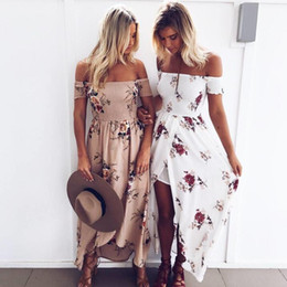 Wholesale Long Sleeve Floral Maxi - Boho style long dress women Off shoulder beach summer dresses Floral print Vintage chiffon white maxi dress vestidos de festa