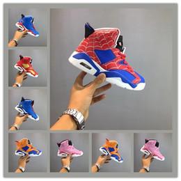 Bambini Classic 6s UNC Chicago bianco infrarosso basso Spiderman Iron Man scarpe da basket 6 carminio Oreo gatto nero Sneakers per bambini Taglia 28-35 da