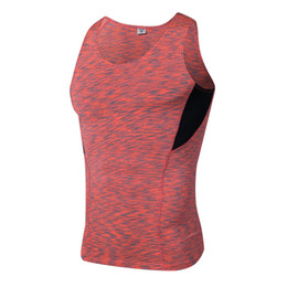 Wholesale compression baselayer - 2017 Summer Sport Fitness Shirt Mens Gym Tank Top Baselayer Dry Fit Sweat-Wicking Compression Sleeveless Shirt Gym Running Vests