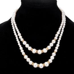 fe605881e295 Moda de doble capa de imitación perlas de imitación perlas collares de  novia de dama de honor con cuentas cadenas para las mujeres de las señoras  de la boda ...