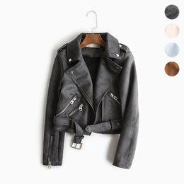 2019 chaquetas Chaquetas de gamuza de cuero Chaqueta de cuero de imitación para mujer Chaqueta de abrigo de moto de mujer Cinturón / perno prisionero Jaqueta Couro Biker leren jas Coats rebajas chaquetas