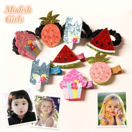 Wholesale Glitter Hair Ties - 20pcs Lot Glitter Hair Clips Fruit Food Design Watermelon Hair Ties Icecream Solid Hairpins Pineapple Hair Grips Children Hairbands