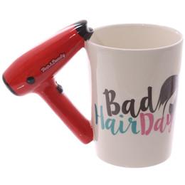 2019 saloni arredamento 1 pezzo Ceramic Hair Dryer Mug Ladies Tool Asciugacapelli Tazza Hair Salon Bagno Decor Vanity Decor Coffee Cup parrucchiere regalo sconti saloni arredamento