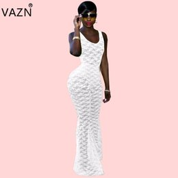 a595e1a6f00 VAZN 2018 Design Hot Sale Women Skinny Jumpsuits Solid White O-neck  Sleeveless Less Flare Leg Comfortable Plus Size Romper 3489