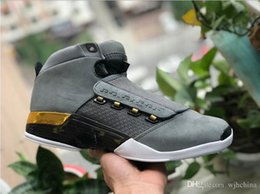 Wholesale Man Rm - AIR 17 RETROS TROPHY RM ROOM GRAY SUEDE WHITE BASKETBALL SHOES MENS SPORTS BASKETBOL SHOES 17S HIGH CUT SNEAKERS FOR MEN