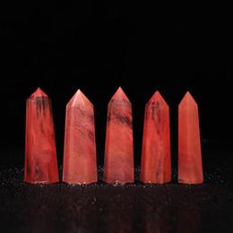 Schwarz quarzstab online-Zufälliges Senden 1 pc Natural Rare Red Quarz schmelzenden Stein Crystal Single beendet Wand Point Healing Anhänger für Halskette Zubehör