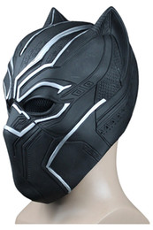 Wholesale adult captain america mask - High Quality Captain America Civil War Black Panther Party Mask Cosplay Black Panther Latex Masks Helmet Adult Halloween