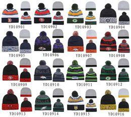 Wholesale Cycling Caps Cheap - New Pom Pom Beanies All Football Teams Beanies Fashion Skull Caps Mens Sports Beanies Cheap Warm Women Knitted Hats Brand Winter Beanie Hats