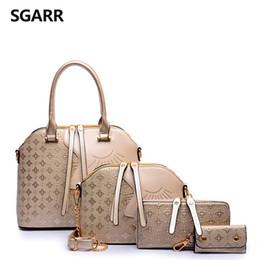 Acheter des sacs en polyester en Ligne-acheter 1 femme grande coquille type sac à main présente 3 pièces sac à bandoulière portefeuille clé porte-monnaie brun / noir / bleu / or / rouge peut être choisir