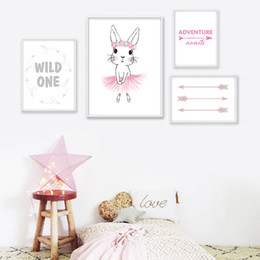 Wholesale baby pink paint - Baby Girl Nursery Wall Art Canvas Painting Pink Rabbit Arrow Quotes Posters Prints Nordic Kids Decoration Pictures Bedroom Decor