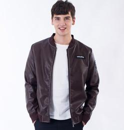 Wholesale Leather Jacket For Men Fashion - Fashion Style Man's PU Leather Jacket Motocycle Windbreaker Crew Neck Outer Coat The Jacker For Man
