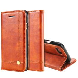 Iphone leder flip case braun online-Phone Cases Für iPhone 6 6 s 7 7 Plus Luxus Männer Flip Leder Braun Brieftasche Mobile Cover Fall Für iPhone 7 6 s 6 Capinhas
