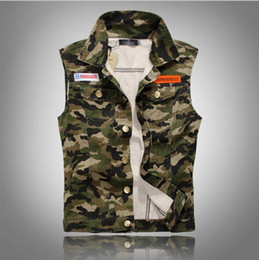 Wholesale Denim Waistcoat Men - New 2018 Lapel Denim Vest Mens Distressed Denim Waistcoat Camouflage Sleeveless Jeans Denim Jacket Casual Vests For Men Gilet Biker Homme