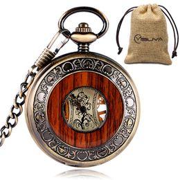 Wholesale Flower Clocks - Vintage Mechanical Pocket Watch Roman Numerals Creative Wooden Watches Bronze Hollow Carving Flower Dial Pendant Chain Clock Women Men Gifts