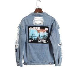 Corée rétro lavage effiloché en lambeaux lettre broderie lâche dos patch veste jeans ? partir de fabricateur