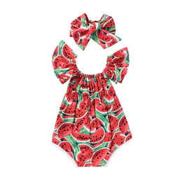 554f659ec7 baby girl watermelon romper Coupons - 2018 Summer Baby Girl Clothes  Sleeveless Watermelon Infant Bebes Romper