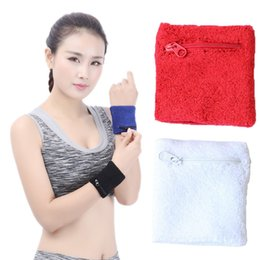Wholesale warm pocket - 4 Colors Sports Sweatband Keep Warm Wrist Support With Zipper Pocket & Wallet for Cycling Running Tennis ect. Support FBA Dropshipping G899Q