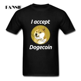 Wholesale Custom Team Clothing - I accept Dogecoin Men T Shirts Swag Tees Shirt Men White Short Sleeve Custom Plus Size Clothes Tops For Team